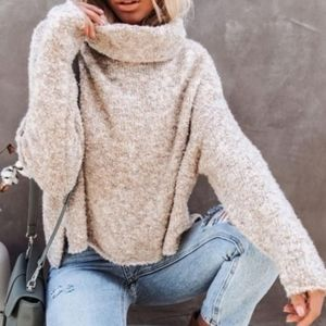 Sincerely Jules Cowl Neck Crop Batwing Sweater S